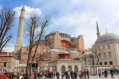 Hagia Sophia and the area with tourists Royalty Free Stock Photography