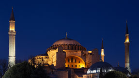 Hagia Sophia (Ayasofya) in Istanbul, Turkey. Night view to the Hagia Sophia (Ayasofya) in Istanbul, Turkey Royalty Free Stock Image