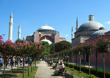 Hagia Sophia – Ayasofya, museum – mosque with high minarets in the city of Istanbul, Turkey Stock Image