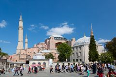Hagia Sophia Ayasofya museum in the Sultan Ahmet Park in Istanbul, Turkey during sunny summer day. stock photography