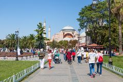 Hagia Sophia Ayasofya museum in the Sultan Ahmet Park in Istanbul, Turkey during sunny summer day. stock images