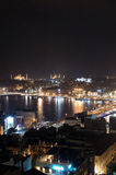 The hagia sophia, blue mosque. And golden horn creek at night in istanbul, Turkey Stock Photos