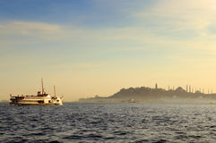 Hagia Sophia, Blue mosque and ferry. Ferry in the Bosphorus ( Istanbul/Turkey Stock Photo