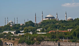 Hagia Sophia and Blue Mosque in Istanbul. Both the Hagia Sophia and the Blue Mosque seen from the Bosphorus Royalty Free Stock Photography