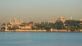 Hagia Sophia and Blue Mosque in Istanbul above Bosphorus stock video