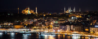 Hagia Sophia and Blue Mosque by night Royalty Free Stock Photos