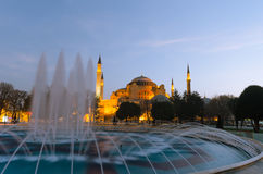 The Hagia Sophia Byzantine architecture and fountain in Istanbul. The Hagia Sophia Byzantine architecture and fountain, famous historic landmark and world wonder royalty free stock photo