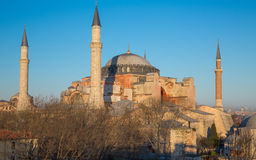 Hagia Sophia cathedral at sunset, side view Stock Images