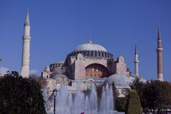 Hagia Sophia view from fountain. Hagia Sophia (the Church of Holy Wisdom) is one of the greatest surviving examples of Byzantine architecture stock photos