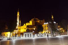 Aya Sophia in Istanbul Turkey at night. Hagia Sophia the Church of Holy Wisdom is one of the greatest surviving examples of Byzantine architecture royalty free stock images
