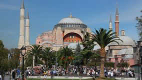 Hagia Sophia Church Museum a sunny day and peoples. Istanbul`s popular touristic destination of Sultanahmet Square. Turkey stock footage