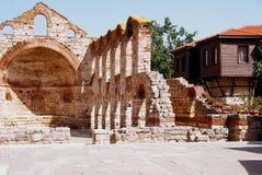 Hagia Sophia Church, Nesebar, Bulgaria, Black sea coast. Saint Sofia Church, The Old Bishopric - Nessebar Bulgaria. On the background to the right - typical for Royalty Free Stock Image