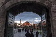 Hagia Sophia con il tramonto a Costantinopoli Maggio 2016 Fotografia Stock