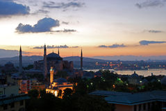 Hagia Sophia by dawn. Hagia Sophia in Istanbul, Turkey - as seen from high ground, by dawn Stock Images