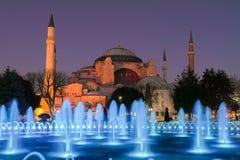 Hagia Sophia in der Nacht Lizenzfreies Stockfoto