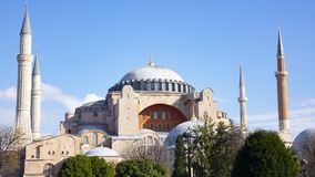 Hagia Sophia domes and minarets in the old town of Istanbul, Turkey royalty free stock photography