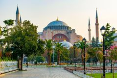 Hagia Sophia domes and minarets in the old town of Istanbul, Turkey stock photography