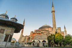 Hagia Sophia domes and minarets in the old town of Istanbul, Turkey, at sunrise. stock photo