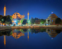 Hagia Sophia early at the night in Istanbul Stock Photos
