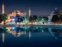 Hagia Sophia early at the night in Istanbul. Hagia Sophia in Istanbul, Turkey early at the night with reflection on water stock photos