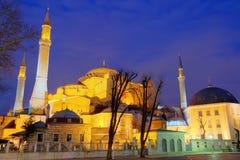 Hagia Sophia en la noche, imagen de HDR fotografía de archivo