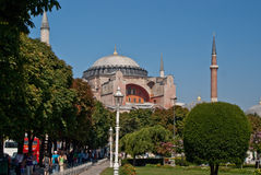Hagia Sophia Exterior. Exterior of the Hagia Sophia , Istanbul, showing arches, minaret and blue sky Stock Photography