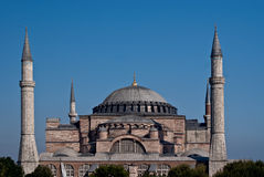 Hagia Sophia Exterior. Hagia Sophia, Istanbul, in daylight, against a cloudless dark blue sky Stock Images