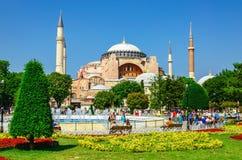 Hagia Sophia, flower garden in Istanbul, Turkey Stock Photo