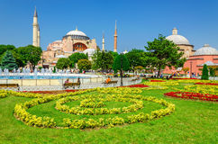 Hagia Sophia with flowers, Istanbul, Turkey Stock Image