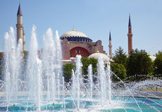 Hagia Sophia with the fontain in front of it, Istanbul. Stock Image