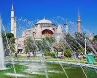 The Hagia Sophia and fountain in Istanbul. Turkey royalty free stock photo