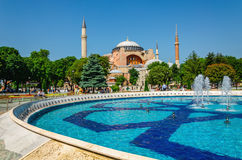 Hagia Sophia with fountain, Istanbul, Turkey Royalty Free Stock Images