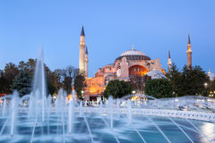 Hagia Sophia. And fountains in the evening, Istanbul, Turkey Stock Photography