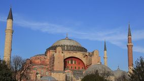 Hagia Sophia and fountains stock footage