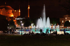 Hagia Sophia and fountains at night Royalty Free Stock Images