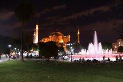 Hagia Sophia and fountains at night Royalty Free Stock Photos