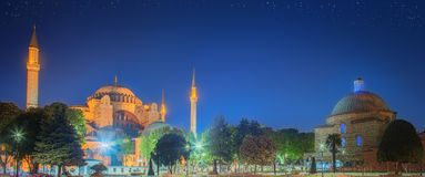 Hagia Sophia früh nachts in Istanbul Lizenzfreies Stockfoto