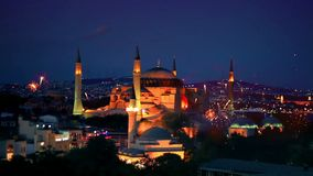 Hagia Sophia, helgdagsafton Istanbul för nytt år stock video