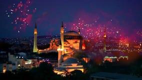 Hagia Sophia, het Nieuwjaarvooravond van Istanboel stock video