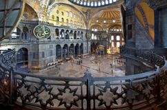 Hagia Sophia interior at Istanbul Turkey. Interior of the main hall of Hagia Sophia in Istanbul, Turkey stock photos