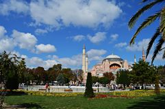 Hagia Sophia Istambul. The church contained a large collection of holy relics and featured, among other things, a 15-metre (49 ft) silver iconostasis. The focal stock photo