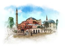 Hagia Sophia, Istambul, mesquita hist?rica isl?mica e museu Esbo?o da aquarela imagens de stock royalty free