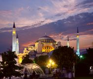 Hagia Sophia in Istanbul am Abend Stockbild