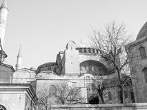 Hagia Sophia in Istanbul. Hagia Sophia church of the Holy Wisdom in Constantinople now Istanbul in black and white Stock Photos