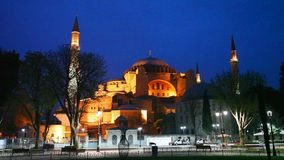 Hagia Sophia in Istanbul early in the night. Hagia Sophia in Istanbul, Turkey early in the night stock footage