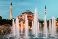 Hagia Sophia in Istanbul with illumination Stock Photos