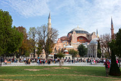 Hagia Sophia. ISTANBUL - OCT 7, 2014: Tourists visiting the Hagia Sophia on October 7, 2014 in Istanbul, Turkey. Hagia Sophia is the greatest monument of royalty free stock photos