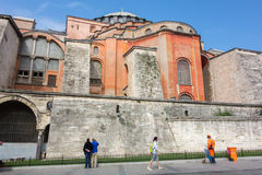 Hagia Sophia. ISTANBUL - OCT 7, 2014: Tourists visiting the Hagia Sophia on October 7, 2014 in Istanbul, Turkey. Hagia Sophia is the greatest monument of stock photos