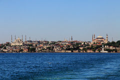 Hagia Sophia - Istanbul. Sea view of Istanbul Sultanahmet district with famous Mosques Royalty Free Stock Photo