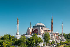 Hagia Sophia in Istanbul, Turkey. Basilica of Hagia Sophia is the greatest monument of Byzantine Culture royalty free stock images